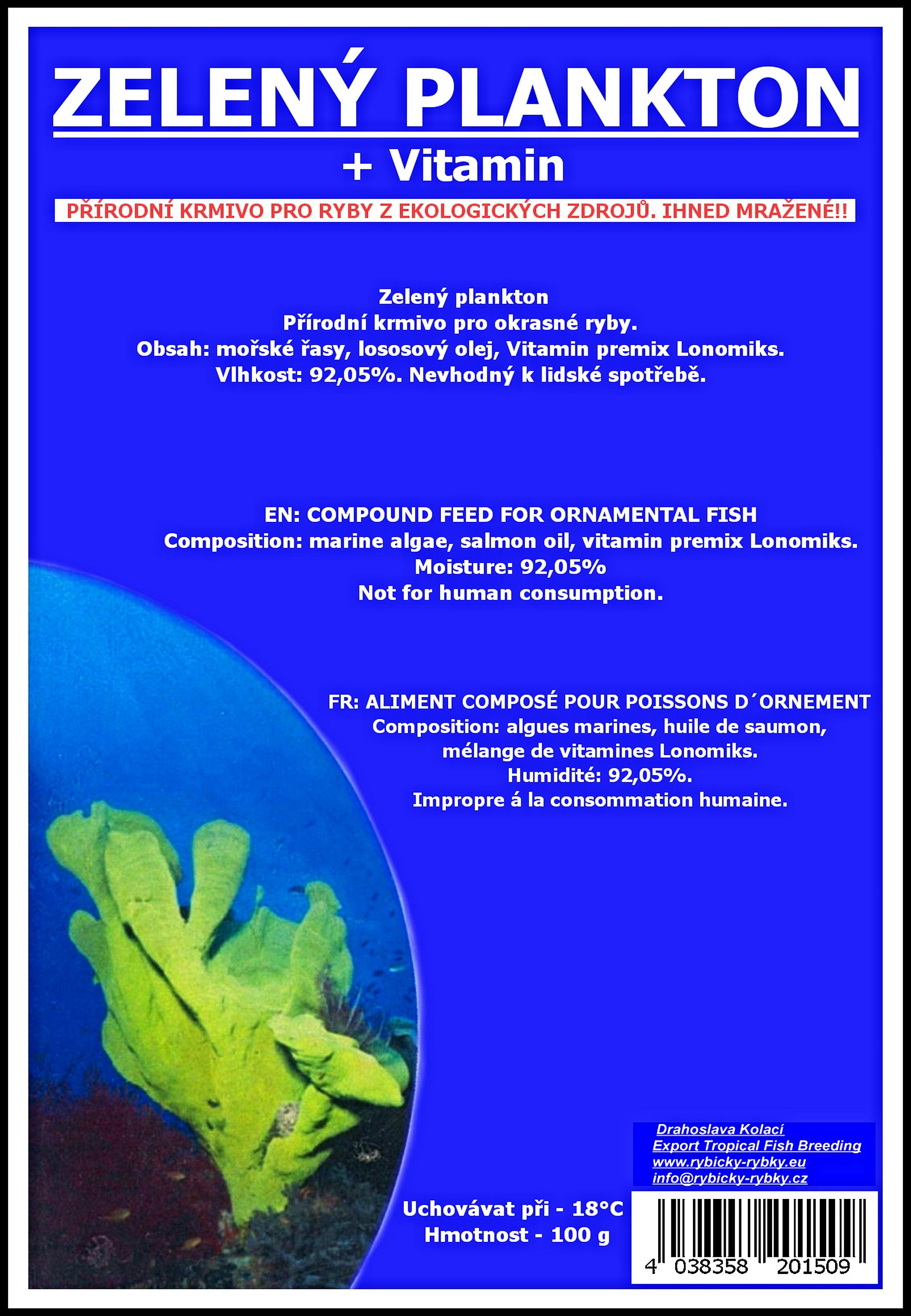 Zelený plankton - blistr - 100g