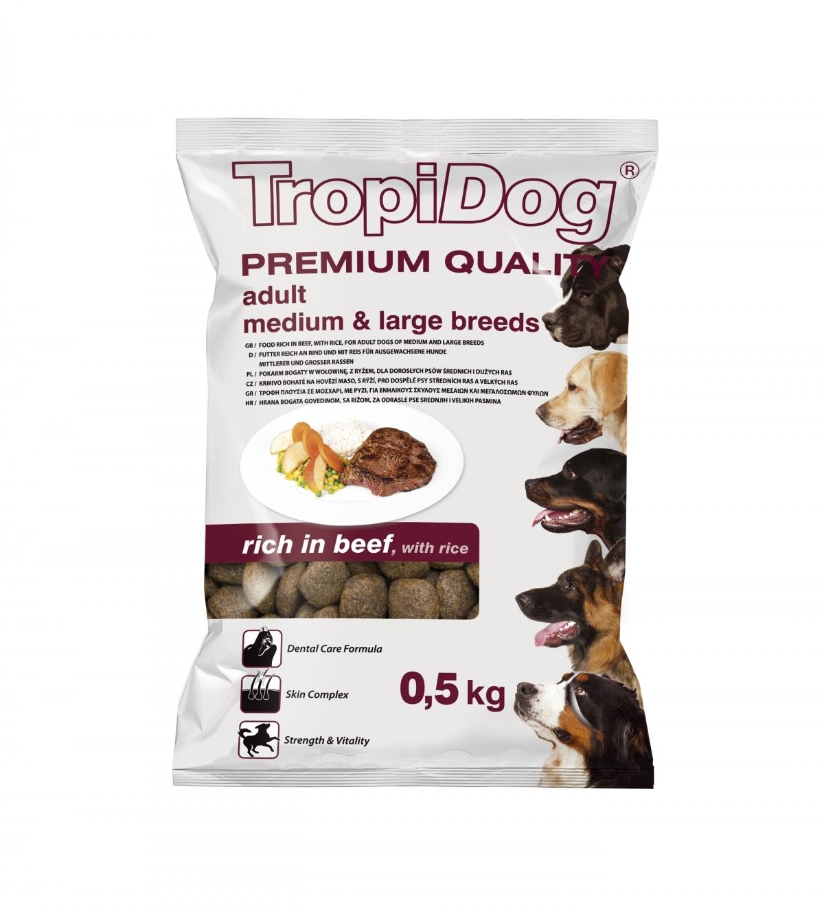 Tropidog Premium Adult M&L Beef&Rice - 500 g