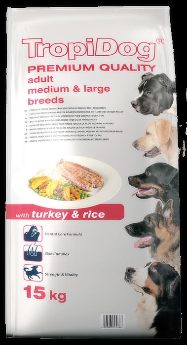 Tropidog Premium Adult M&L Turkey&Rice  - 500g
