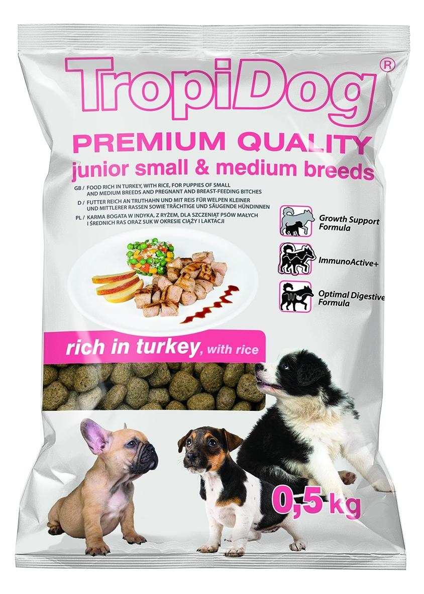 Tropidog Premium Junior S&M Turkey&Rice - 500g