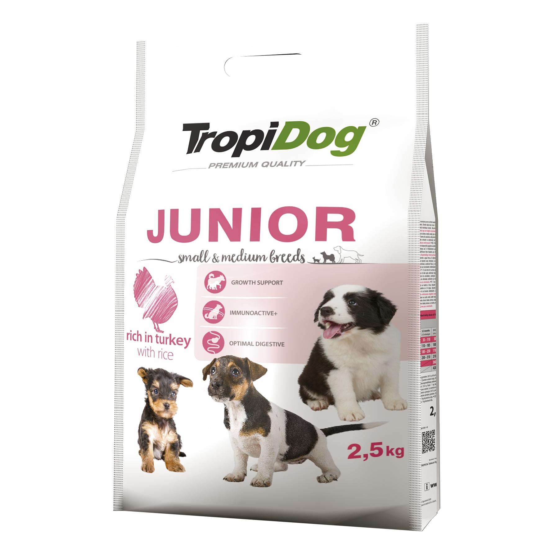Tropidog Premium Junior S&M Turkey&Rice - 2,5 Kg