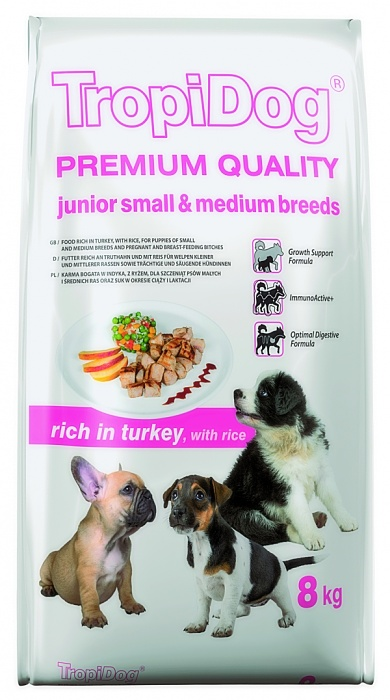 Tropidog Premium Junior S&M Turkey&Rice - 8 Kg