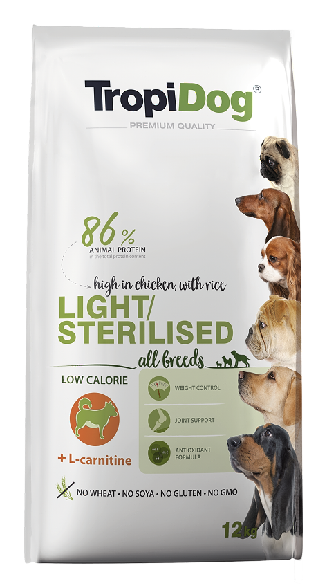 Tropidog Adult All Breeds Light – high in CHICKEN, with RICE - 12 Kg