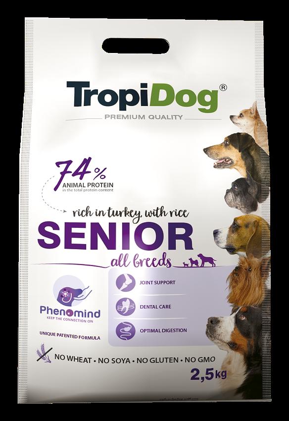 Tropidog Senior All Breeds – rich in TURKEY, with RICE - 2,5 Kg
